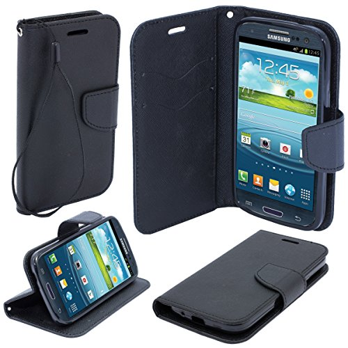 Moozy dual color Fancy Diary Book Wallet Case Flip cover with stand / wrist strap / Silicone phone holder for Samsung i9300 Galaxy S3 / i9301 S3 Neo Black