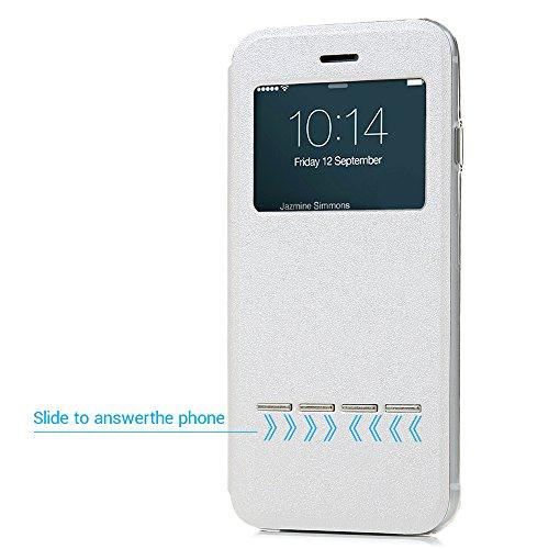 iPhone 7 Hülle Case, Kasos iPhone 7 Schutzhülle Standfunktion PU Leder Fenster Tasche Handyhülle Ledercase Etui Book Cover Schale in Blau Weiß