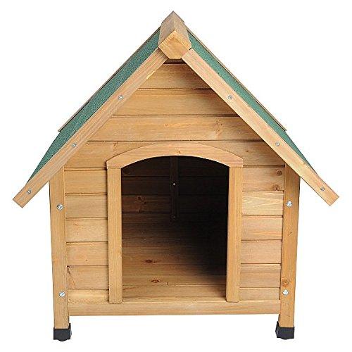 Hundehütte Spitzdach Massiv Holz Hundehaus Wetterfest Hunde Haus Hütte 76x76x72cm HT2022