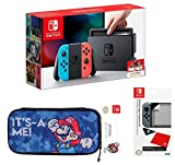 Nintendo Switch Pack: Neon-Konsole in Blau / Rot + Tragetasche Mario Edition + Displayschutzfolie (Exklusive Amazon Version)