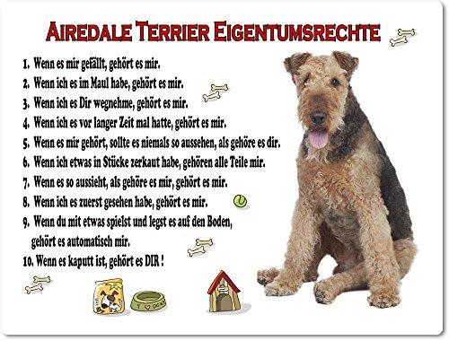 Merchandise for Fans Blechschild/Warnschild / Türschild - Aluminium - 15x20cm Eigentumsrechte Motiv: Airedale Terrier (01)