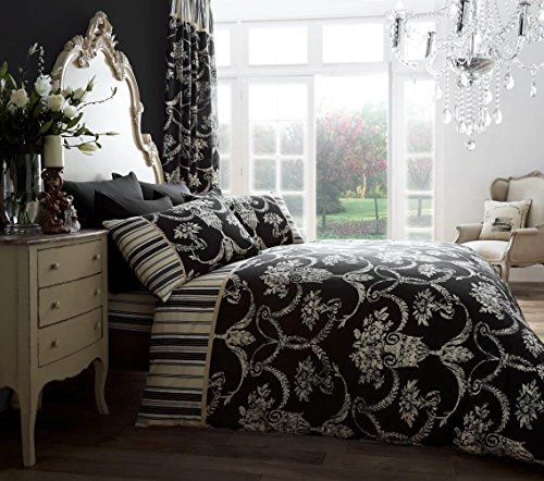 RAYYAN LINEN'S 3PCs POLY-COTTON DOUBLE SIZE RICHMOOD BLACK CREAM DUVET QUILT COVER BEDDING BED SET WITH PILLOWCASES