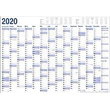 XXL Jahresplaner 2020 Wandkalender in Poster Größe. Gefaltet, gefalzt - Wandplaner, Jahreskalender, Groß: 70x100 cm. 1 Stück