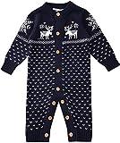 Zoerea Unisex Neugeborenes Baby Strick Strampler Lange Ärmel Watte Weihnachten Pullover mit Elch Hirsche Schneeflocke (Blau, Etikett 80 (ca. 8-12 Monate))