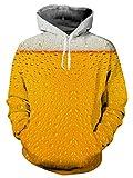 TUONROAD Felpe 3D Uomo Birra Stampato Hoodie Pullover Inverno Vello Sweatshirt con Tasche Felpe con Cappuccio S