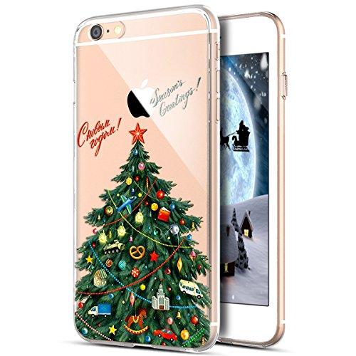 Cover iPhone 4S,Cover iPhone 4,Custodia iPhone 4S 4 Cover,Cover Trasparente custodia iPhone 4S 4S 4 disegno colorato TPU Case Super Sottile Bumper Case Custodia Cover per iPhone 4S/4,Albero di Natale