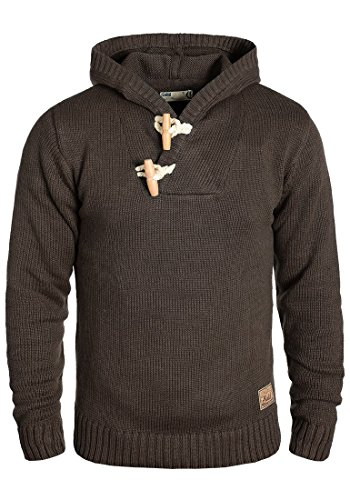 SOLID Palmer Herren Kapuzenpullover Strickhoodie aus hochwertiger Baumwoll-Mischung , Größe:M, Farbe:Coffee Bean Melange (8973)