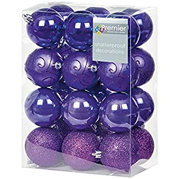 24 x assorted purple christmas baubles balls decorations shatterproof xmas by gsl