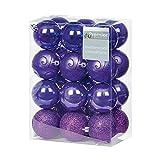 OccasionsDirect - Palline decorative per albero di Natale, infrangibili, motivi assortiti, colore: viola, 24 pezzi