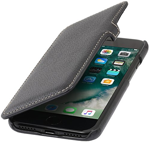 StilGut Book Type Case, Hülle Leder-Tasche für iPhone 8 Plus & iPhone 7 Plus. Seitlich klappbares Flip-Case aus Echtleder für das Original iPhone 8 Plus & iPhone 7 Plus (5,5 Zoll), Schwarz Nappa - Kar Schwarz