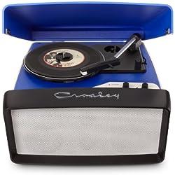 Crosley Collegiate - Tocadiscos de 3 velocidades con puerto USB y altavoces estéreos integrados, azul