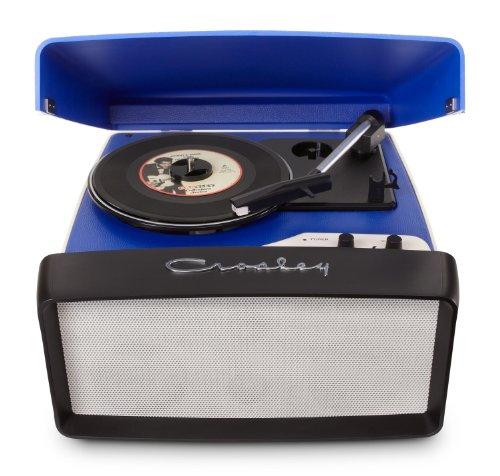 #04 GIRADISCHI CROSLEY - Crosley Collegiate - Giradischi portatile, 3 velocità e altoparlante integrato, compatibile con USB, presa inglese Spina UK blu