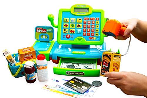 Think Gizmos Registratore di Cassa Interattivo per Bambini - Registratore di Cassa Giocattolo con Soldi Finti - Scanner - Alimenti e Carrello Spesa Giocattolo a Cestino - TG802