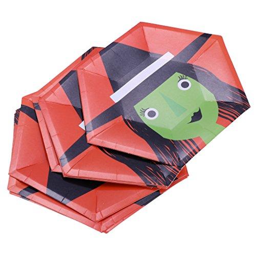 non-brand MagiDeal 8pcs Halloween Pappteller Imbissteller Einwegteller Geburtstags Party Geschirr DIY Bastel - Hexe, 10 Zoll