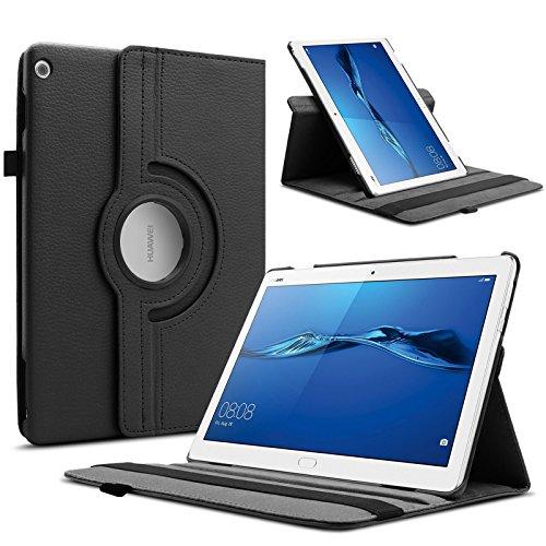 Infiland Huawei MediaPad M3 Lite 10 Hülle Case, Superleicht Smart Ständer Rotating Schutzhülle Tasche für Huawei MediaPad M3 Lite 10(10.1 Zoll)(mit Auto Schlaf/Wach Funktion)(Schwarz)