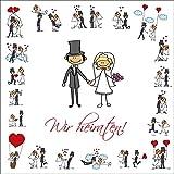 10-er Set lustige Einladungskarten zur Hochzeit/Hochzeitseinladungen inklusive passenden Briefumschlägen von EDITION COLIBRI