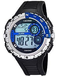 Calypso Herrenarmbanduhr Quarzuhr Kunststoffuhr mit Polyurethanband schwarz/blau digital K5662/3