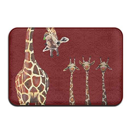 Wdskbg YiNuo Fashion Doormats Giraffe Cute Naughty Cool Outdoor Mats Welcome Mat Non-Slip Doormat Coral Fleece Indoor Outdoor Kitchen Floor Rug Front Door Mat Funny Flannel Carpet 1523 -