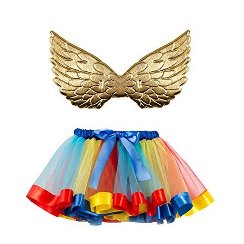 Rainbow Girl Kostüm - Dasongff Rainbow Tutu Rock mit Flügel 2 Stück Kinder Prinzessin Kleid Unterrock Partykleid Ballett Outfit Engelsflügel Leistung Kostüm Wings für Kleinkind Mädchen Fasching Karneval Halloween
