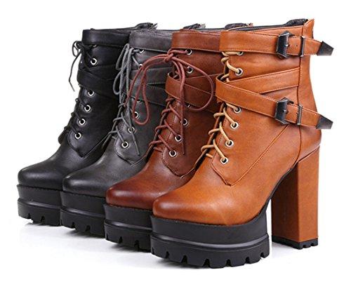 YE Damen Blockabsatz High Heels Plateau Kurzschaft Stiefeletten mit Schnürung und Reißverschluss Schnallen Retro Warm Gefüttert 12CM Absatz Ankle Boots Schuhe Schwarz