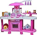 Rosa Groβe Kinder-Spielküche mit Zubehör Spielzeug Kinder mit Ton Wasserhahn mit Wasser