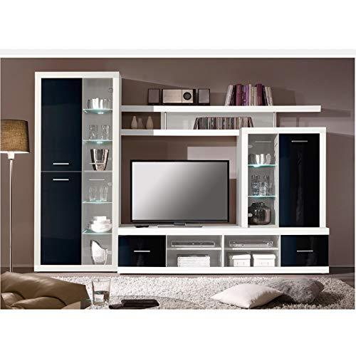 ROLLER Wohnwand CAN CAN 4 LUX – weiß-schwarz – Glasfronten - 3