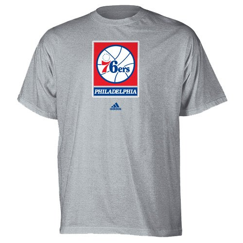 adidas NBA Philadelphia 76ers Basic - Siebdruck T-Shirt - Ash, Herren, grau, Large