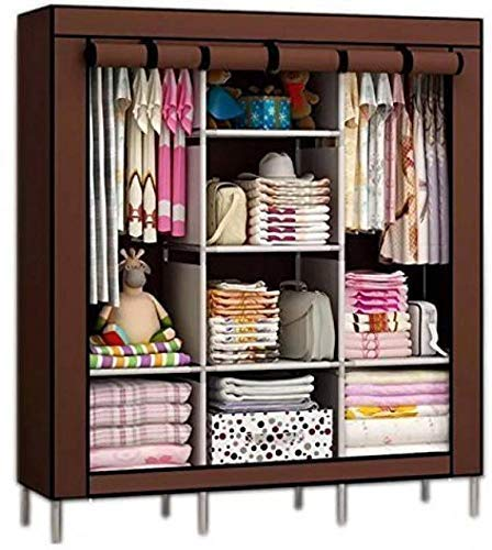 Anva Wardrobe Almirah Collapsible Organizer Storage for Clothes Cupboard Closet with 6 Cabinet & 2 Long Shelves Foldable Portable Non-Woven Fabric Wardrobe for Home Bedroom 130 X 45 X 175 cm Brown
