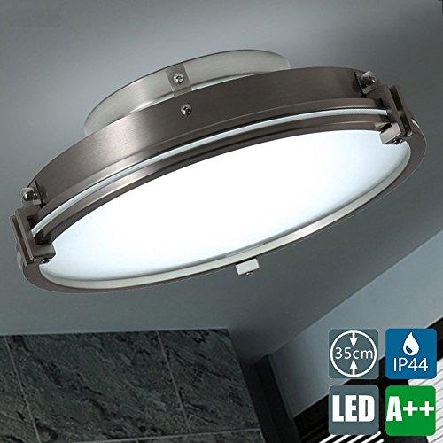 Retro LED-Deckenleuchte IP44 Badlampe Rund Vintage Deckenlampe Glas Lampenschirm Lampe leuchte Industrielle LOFT Deckenbeleuchtung Weiß-6000K, 15 W, 1500 lm, Ø 35cm