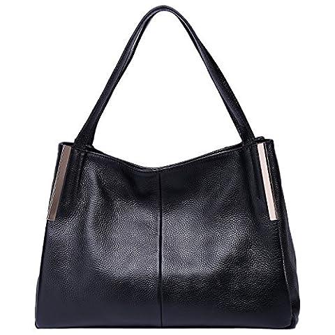 BOYATU Fashion Women Leather Shoulder Bag Commuter Business Package Casual Tote (Black)