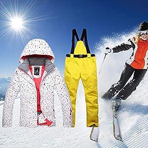 Frauen Skianzug, Skijacke Hosen Set, Wasserdicht Winddicht Warme Damen Jacke Winter Snowboardanzug Schneesichere Outdoor Sportjacke Outdoor Wasserdicht Warme Skianzug