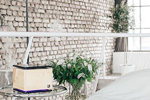 """ZirbenLüfter CUBE rondo stone, natürlicher Luftbefeuchter / Luftreiniger aus Zirbe / Zirbenholz. – Räume bis 40 m2. Abgerundete Ecken (Abdeckung und Bodenplatte aus schwarzem Naturstein """"Nero Absolutto"""" mit Blume des Lebens) - 5"""
