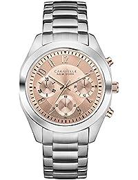 Caravelle New York 45L143 - Reloj analógico de cuarzo para mujeres, correa de acero inoxidable, color plateado
