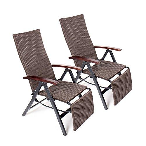 vanage gartenstuhl mit fu ablage klappstuhl gartenm bel rattansessel 2er set braun. Black Bedroom Furniture Sets. Home Design Ideas