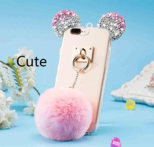 iPhone X Shell, Cute Bear Mouse Shiny Diamond Ear Clear Slim Cover With Soft Hanging Hairball, TAITOU Beautiful Flurry Wool Villi Ball Pendant Thin Transparent Phone Case For Apple iPhone X Rose BPink
