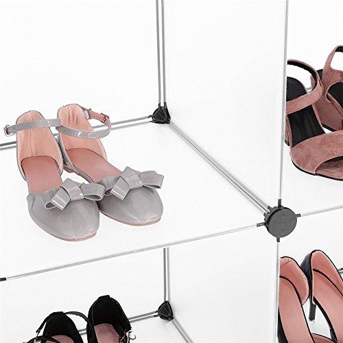 Generico 16-cube guardaroba armadio storage modulabile mobile ripiani portaoggetti diy con porte per abiti scarpe giocattoli libri soprammobili traslucido bianco