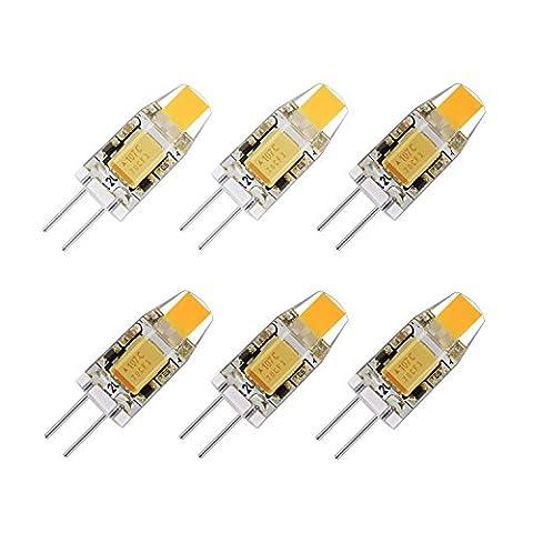 G4 LED Leuchtmittel 1 W 6 Pack 12 V AC/DC Bi-Pin Leuchtmittel 2700 K warm weiß wasserdicht G4 Halogen 10 W LED