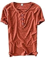Insun Homme Henley Shirt en Coton Manches courtes Tops Printemps Eté T-shirt