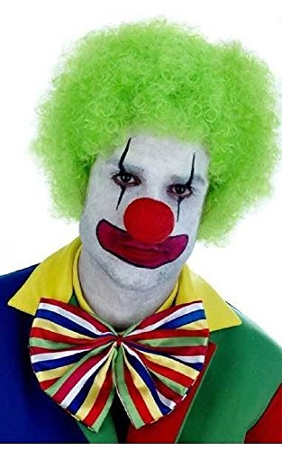 Fancy Me Damen Herren Erwachsene neon grün Afro Perücke Zirkus Clown Kostüm Kleid Outfit - Grün, One ()