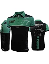 Hotspot Design Polo Carpfishing Eco 2.0, color negro verde, Pesca Polo camisa, color negro, tamaño XXL