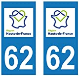 supstick 2Sticker Selbstklebend Nummernschild-Dept 62hohen de France Format rechteckig