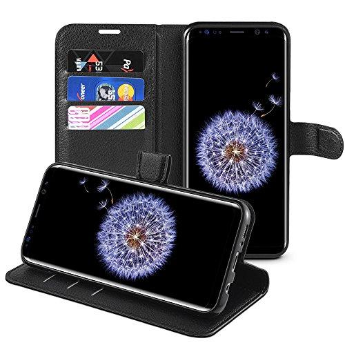 Samsung Galaxy S9 Hülle, HWeggo Galaxy S9 Leder Hülle Schutzhülle Flip Tasche Handyhülle Brieftasche Wallet Hülle im Bookstyle Klapphülle mit Standfunktion für Samsung Galaxy S9 -Schwarz (Leder Nachricht Taschen Für Männer)