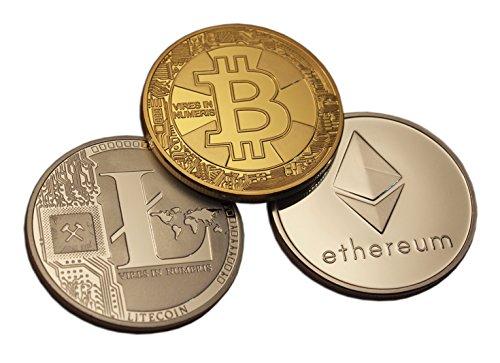 Eillwin Lot de pièces de monnaie rare cryptomonnaie Bitcoin+Litecoin+Ethereum et cadeau à collectionner par  Eillwin