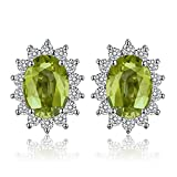 Jewelrypalace Prinzessin Diana William Kate 1.2ct Natürliche Peridot Halo Ohrstecker 925 Sterling Silber