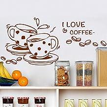 """Vinilo decorativo de tazas de café con la frase """"I love coffee"""". Color marrón. Medidas: 90x55cm"""