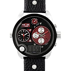 Alienwork DualTime Analogue-Digital Watch Multi-function LCD Wristwatch XXL Oversized Leather black black OS.WH-2305-4
