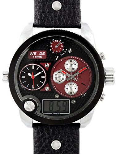 alienwork-dualtime-analogue-digital-watch-multi-function-lcd-wristwatch-xxl-oversized-leather-black-