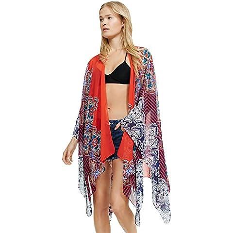 Multi colore floreale e strisce sciarpa Wrap mantello cover-up spiaggia Taglia Unica