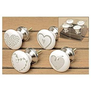 Möbelgriff Hearts 4tlg 4x6cm Keramik
