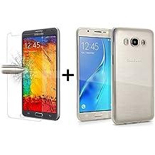 TBOC® Pack: Funda de Gel TPU Transparente + Protector Pantalla Vidrio Templado para Samsung Galaxy J5 (2016) SM-J510. Funda de Silicona Ultrafina y Flexible. Protector de pantalla Resistente a Golpes, Caídas y Arañazos.